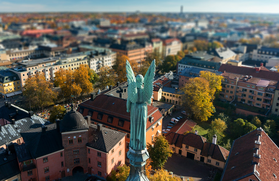 The Angel on the Cathedral watches over Uppsala